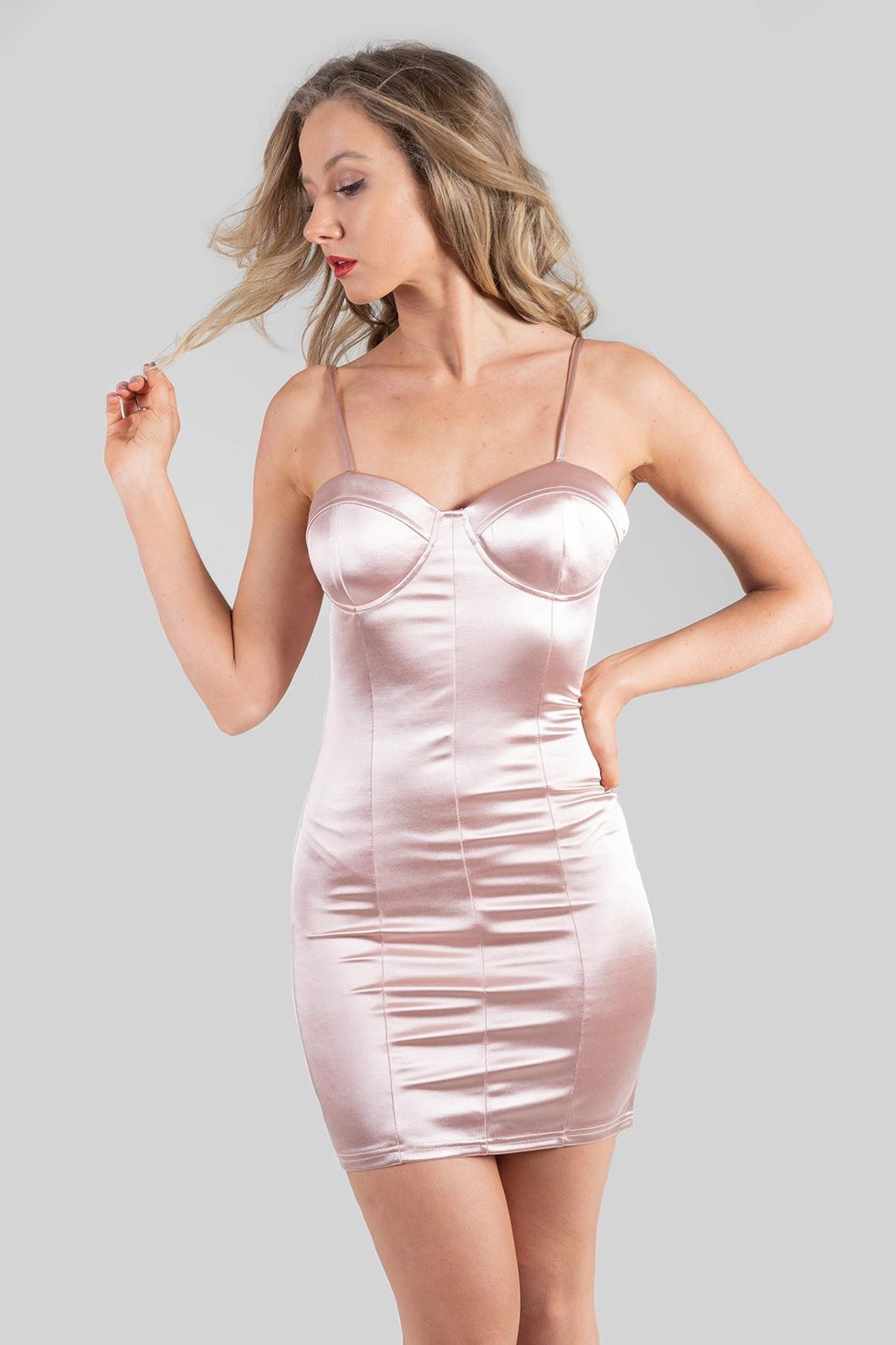 Rose Satin Cup Detail Bodycon Mini Dress