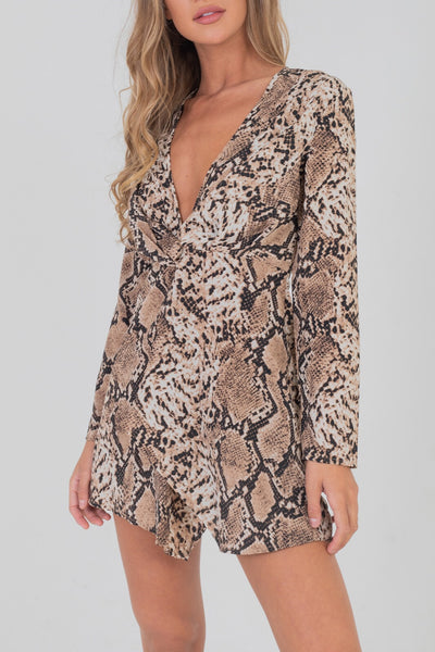 Wrap Front Dress With Knot Details Brown