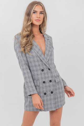 Checked blazer grey