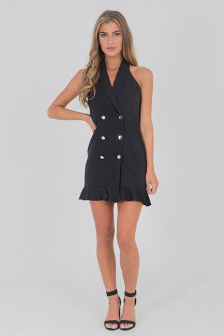 Halterneck Frill Hem Blazer Dress Black