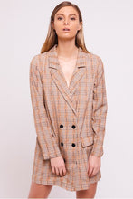 Load image into Gallery viewer, Checked Blazer Dress Mustard