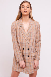 Checked Blazer Dress Mustard