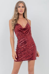 Cowl Front and Back Sequin Dress Red