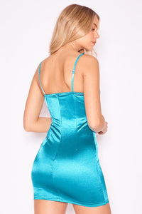 Lace Panel Underwired Stretch Satin Dress