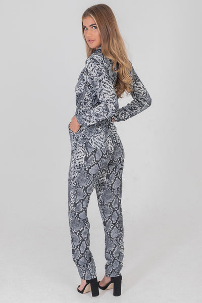 Stain Leopard Boilersuit Jumpsuit Blue