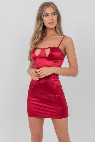 Cut Out Bust Cupped Dress Wine