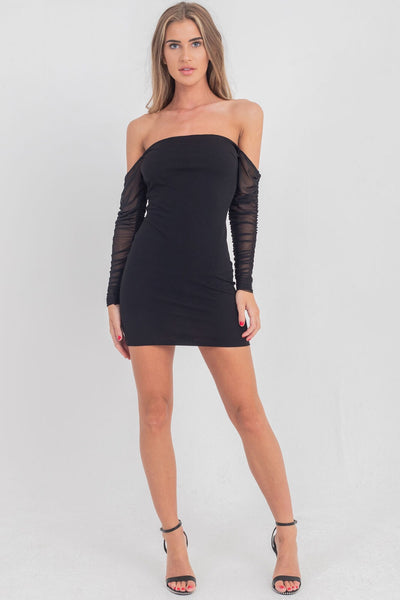 Ruched Mesh Sleeve Bardot Black