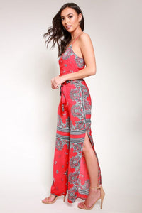 Scarf print jumpsuit red
