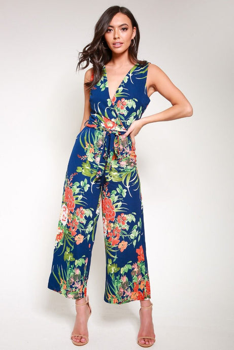 Tropical Print Wrap Front Jumpsuit