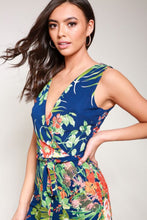 Load image into Gallery viewer, Tropical Print Wrap Front Jumpsuit