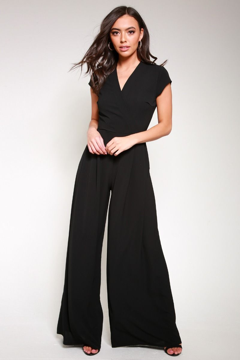 Wrap Front Short Sleeve Jumpsuit