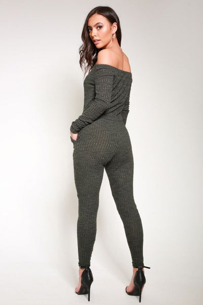 Slashed Knee Ribbed Bardot Lounge Jumpsuit
