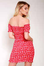 Load image into Gallery viewer, Red Ditsy floral bardot mini dress