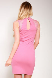 Pink Chocker bodycon dress