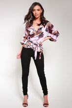 Load image into Gallery viewer, Pink Floral Satin Wrap Blouse