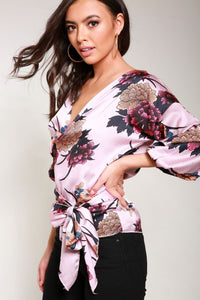 Pink Floral Satin Wrap Blouse