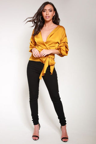 Mustard Satin Wrap Blouse