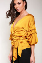 Load image into Gallery viewer, Mustard Satin Wrap Blouse