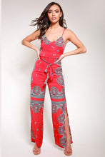 Load image into Gallery viewer, Scarf print jumpsuit red