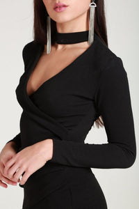 Black chocker asimetric split dress