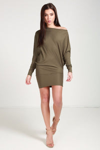 bat sleeve mini dress