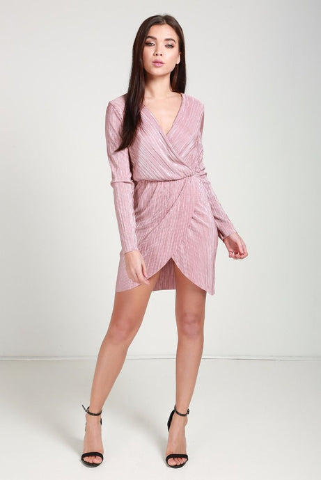 Metallic pink bodycon dress