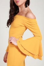 Load image into Gallery viewer, Frill mustard dress