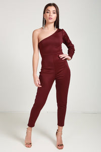 One sleeve wine jumpsuit