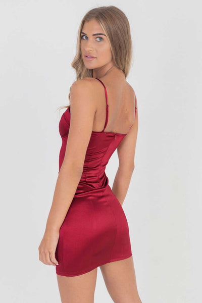 Wine Satin Cup Detail Bodycon Mini Dress
