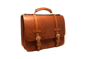 English Double Document Briefcase — Front Angle View