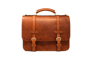 English Double Document Briefcase — Front View