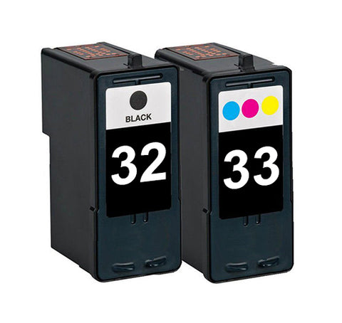 Compatible Lexmark 32 Black and 33 Tri-colour Ink Cartridges