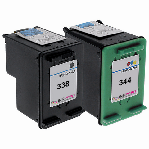 Compatible HP 338 Black & HP 344 Tri-Colour Ink Cartridge Pack