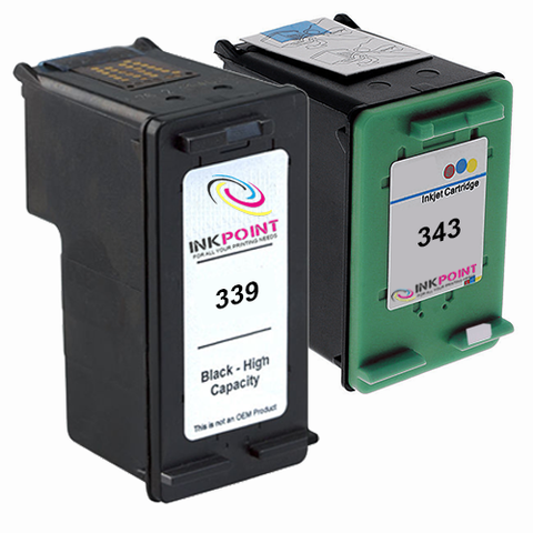 Compatible HP 339 Black & HP 343 Tri-Colour Ink Cartridge Pack