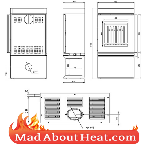DCS stove dimensions drawing room heater log burner madaboutheat