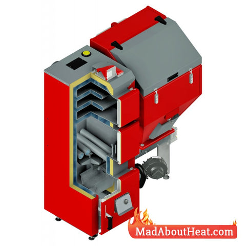 Wood Pellet Boilers for sale in UK England deliver to France Spain English plumber