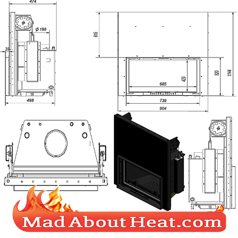 KGWJ 15kW guilotine stove back boiler fire place insert water heater multi fuel central heating drawing dimensions madaboutheat