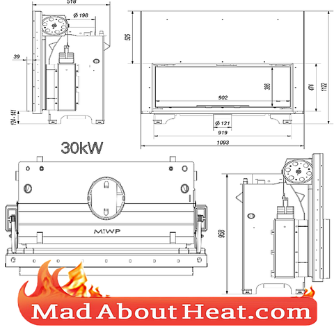 KGWJ 30kW guilotine stove back boiler fire place insert water heater multi fuel central heating drawing dimension madaboutheat
