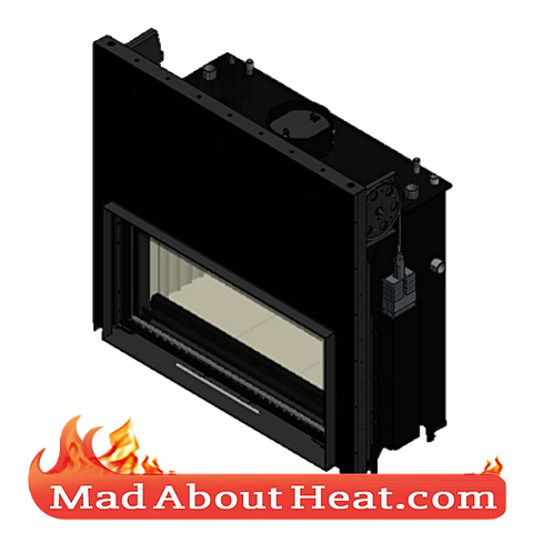 KGWJ 30kW guilotine stove back boiler fire place insert water heater multi fuel central heating top view madaboutheat