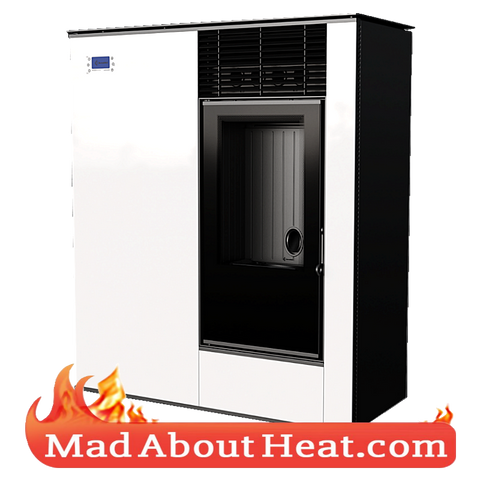 KKVP white wood pellet stove automated modern room heater madaboutheat