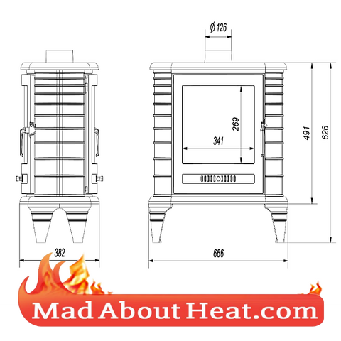 KK 9kW stove 2 glass doors tunnel load both sides center room madaboutheat