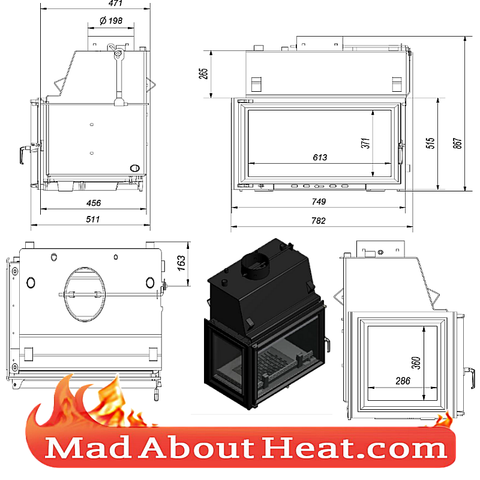 KOLT 27kW Back Boiler stove water heater fireplace insert left hand sided corner dimensions madaboutheat AD PNG