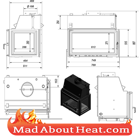 KOLT 27kW Back Boiler stove water heater fireplace insert right hand sided corner drawing madaboutheat