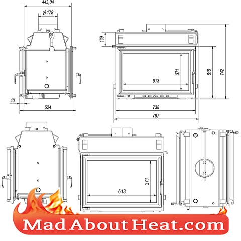 KOLT 27kW Back Boiler stove water heater fireplace insert tunnel specification drawing madaboutheat