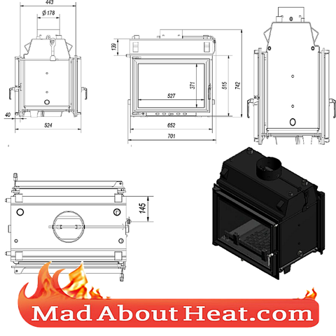 Tunnel design style stove insert fire place water heater madaboutheat.com