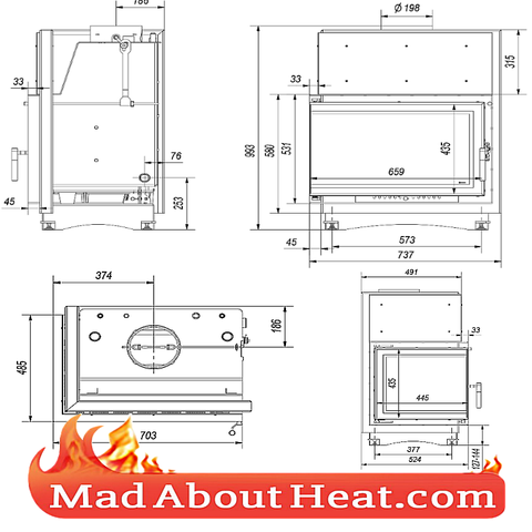 Left Side Corner Stove with back boiler dimensions size madaboutheat