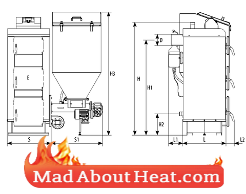 PBI wood pellet slack coal boiler dimensions schematic diagram madaboutheat
