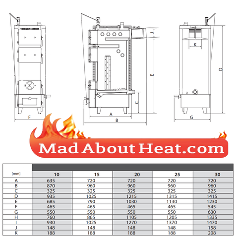 TWBi Multifuel boilers dimensions for biomass central heating
