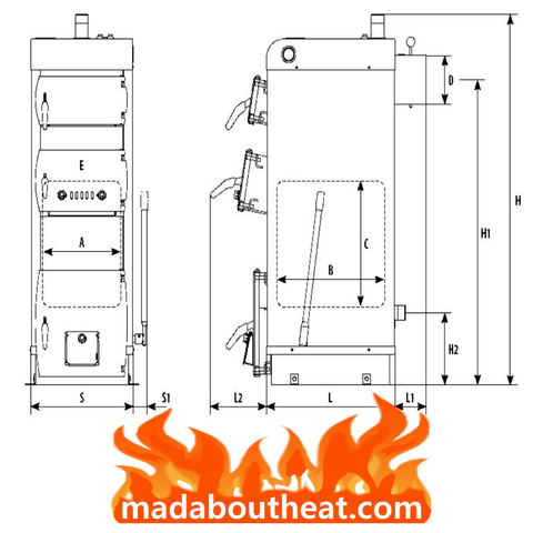 WB 5kW central heating boiler dimension size spec