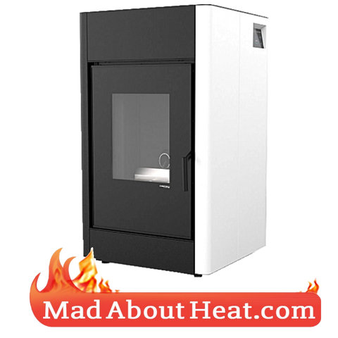 White freestanding stove wood pellets not water heats air madaboutheat